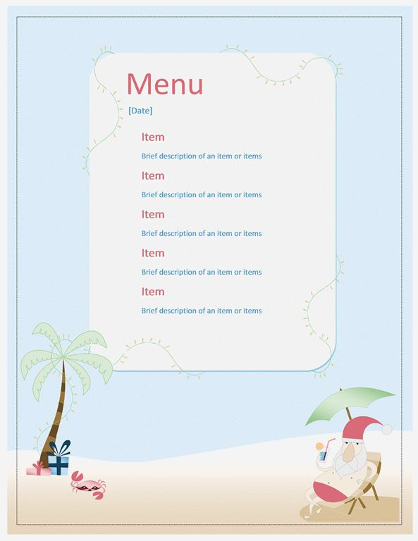 Beach Party Menu Template