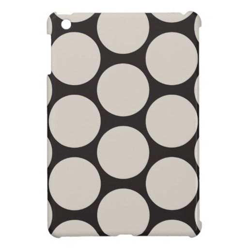 Classy iPad Mini Case Spots Taupe and Black  #ipadcase #polkadots #spots #polkadotipad #ipadminicases #ipadcovers #blackandwhite #spotty #dots #popart #retro #50s