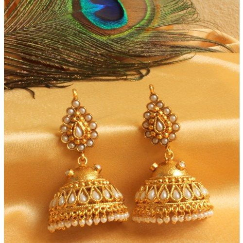 GORGEOUS ANTIQUE ROYAL PEARL JHUMKKA EARRINGS