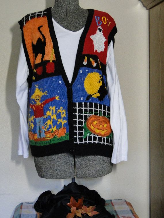 Ugly Halloween Sweater Vest Cheap  Jumper  Tacky, Gaudy, Novelty, Holiday, Party,  by ABetterSweaterShop on Etsy 14 on Etsy, $18.99