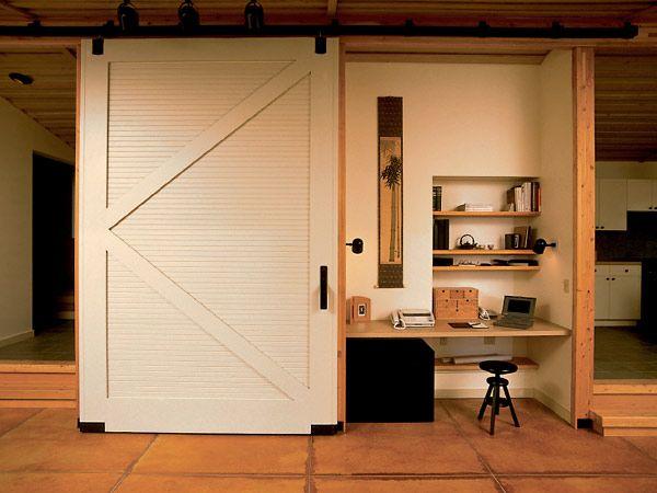 DAT ASSES barn door style swinging garage door very