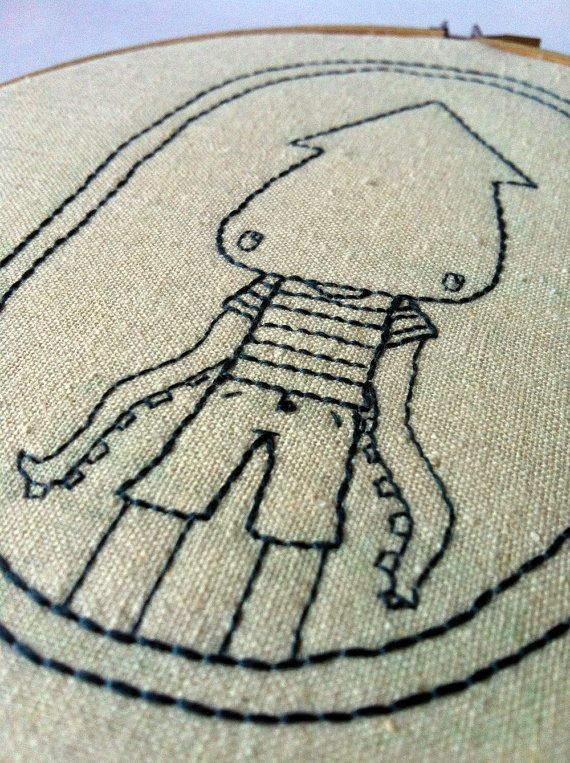 Milton Squidboy Embroidered Hoop Art by QuirkeryStitchery on Etsy,