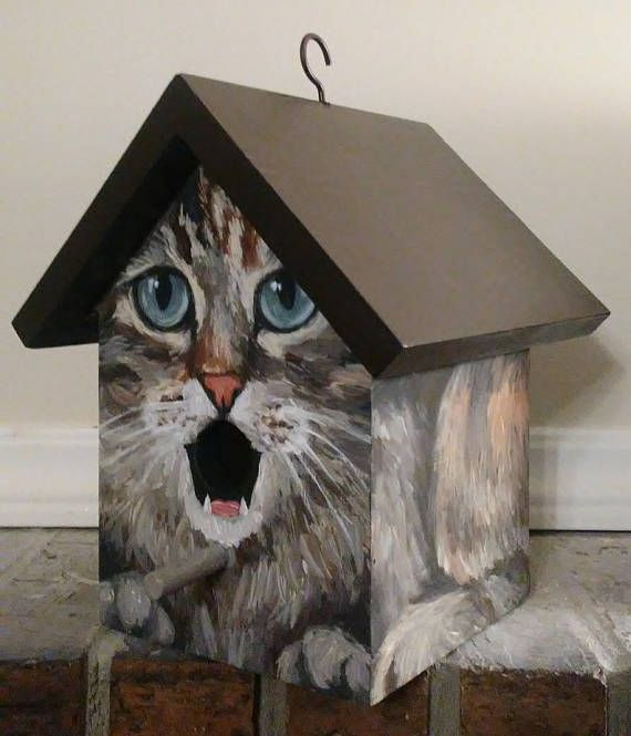 Birdhouse. This bird house is a handpainted EXAMPLE of a grey cat with a chocolate colored roof. Great gift for people who love cats! Various cat breeds or colors may be custom ordered.