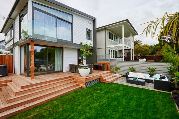 The Block NZ 2014. Jo & Damo's Backyard and outdoor living area. Metalcraft Espan® roofing in COLORSTEEL® Thunder Grey prepainted steel.