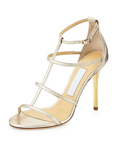 S0AAH Jimmy Choo Dory Strappy Textured Metallic Sandal, Nude
