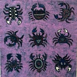 Batik Fabric Panel by Jaka, Crabs on Purple, also gold & green