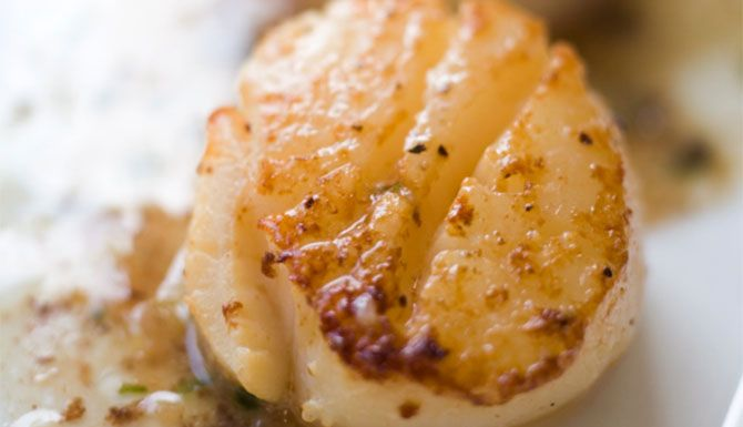 Alder Smoked Scallops with Citrus and Garlic Butter Sauce