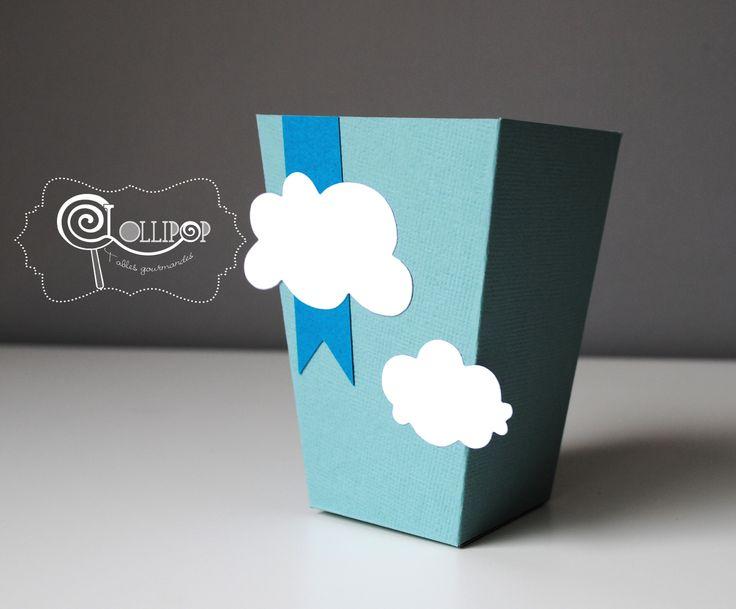 Boîte Pop Corn - Thème Mint et Bleu-vert nuage : Cuisine et service de table par lollipop-tablesgourmandes