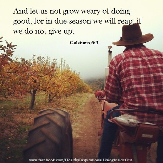 And let us not grow weary of doing good, for in due season we will reap if do not give up. Galatians 6:9