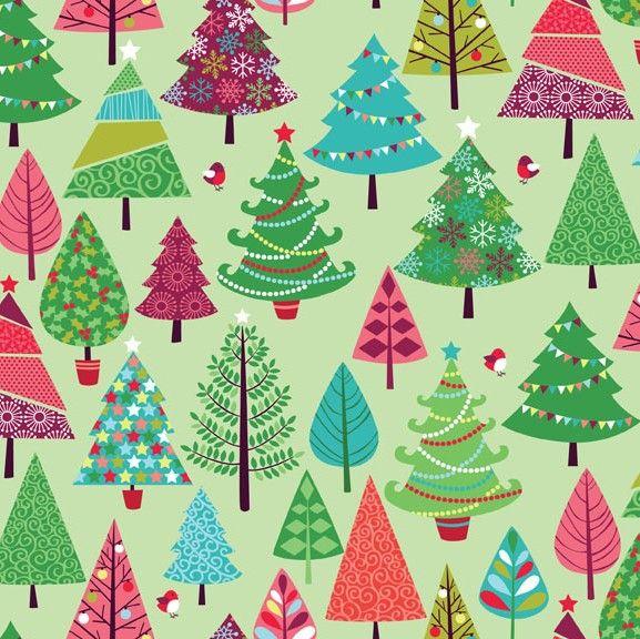 Makower Christmas 2015 Festive Trees On Green Quilt Cotton
