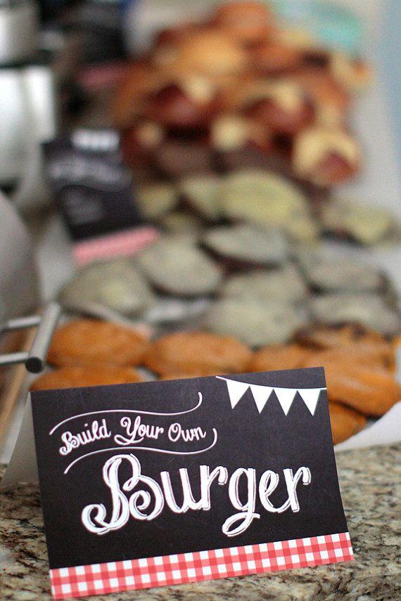 Printable Burger Bar food labels  by PrettiestPrintShop on Etsy