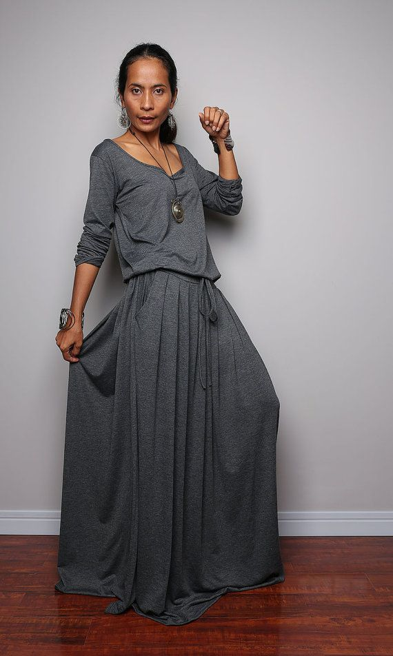 Plus Size Maxi Dress Long Sleeve Top Grey dress : by Nuichan