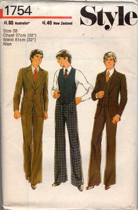 2e17d9b39c710 Style 1754 Mens 3 Piece Suit Jacket Vest Pants 70s Vintage Sewing Pattern  size Chest 38 inches UNCUT