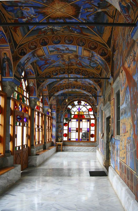 The Skete of Saint John the Baptist (Romanian), The outer narthex of the katholikon. Mount Athos