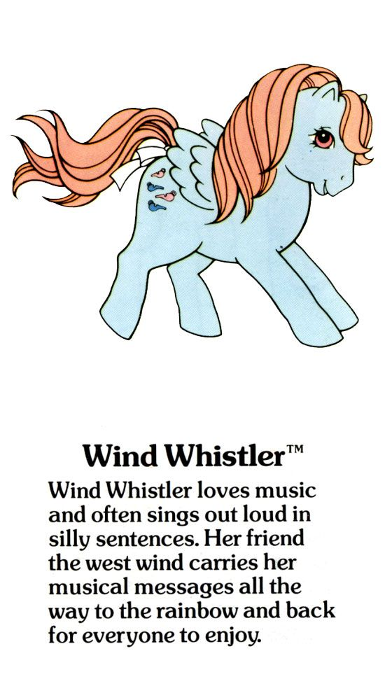 My Little Pony Wind Whistler fact file ...And she uses big words, at least on the TV show.