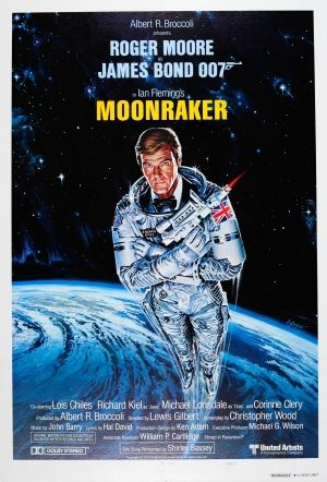 James Bond 007 Moonraker Style A 1979 - original vintage teaser movie poster by Dan Goozee for the James Bond film Moonraker starring Roger Moore as 007 with Lois Chiles (Holly Goodhead), Michael Lonsdale (Hugo Drax) and Richard Kiel (Jaws), listed on AntikBar.co.uk