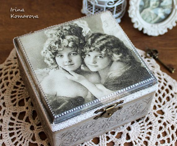 Angels, wooden box, vintage looking box, decoupage box, grey, jewelry box