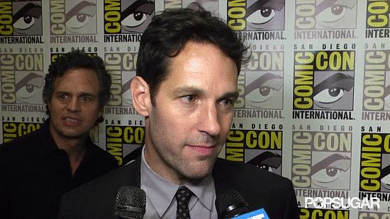 "Mark Ruffalo Freaks Out Over Paul Rudd- mouthing ""is that Paul Rudd?"" to the cameras as he fangirls"