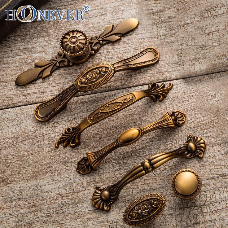 5pcs Vintage Door Handles Noble Antique Drawer Pulls Kitchen Cabinet Handles and Knobs Retro Furniture Handles