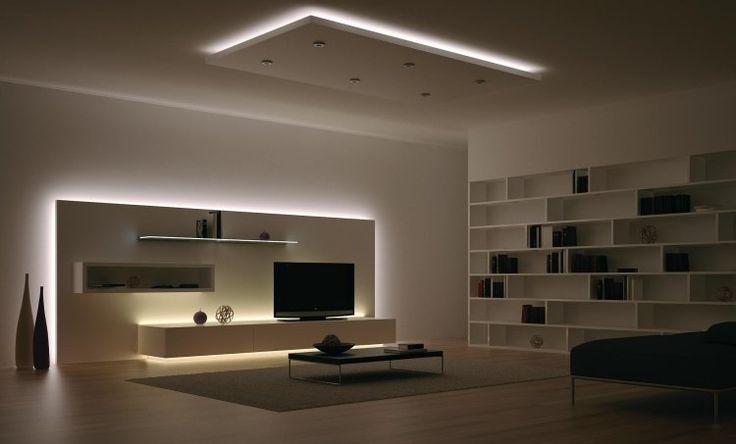 plafonnier design, panneau mural avec éclairage LED intégré et meubles design assortis