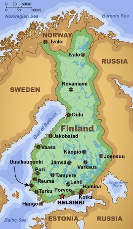 Finland, marked with the largest cities