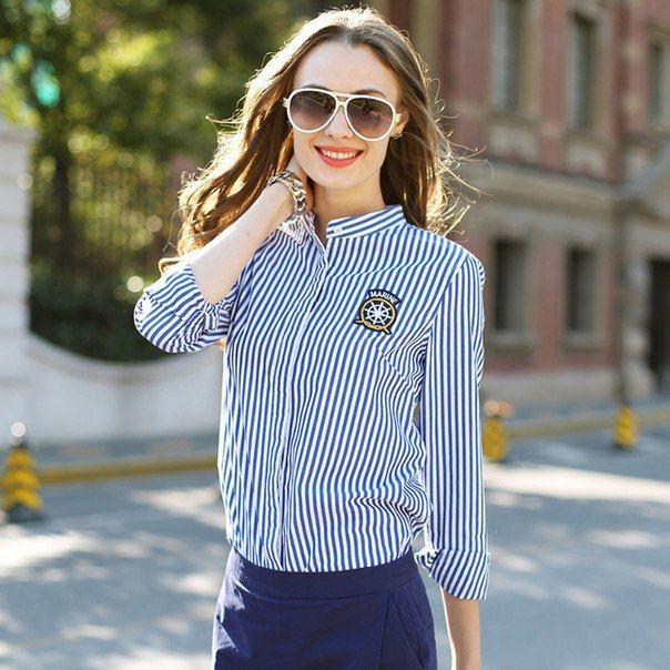 #clothing #fashion #style #women #blouse #classic #стиль #мода #классика #блузки #лето Рубашка в бело-синюю полоску Ссылка: http://ali.pub/8vzrf Большого внимания заслуживают синие рубашки в полоску, которые уже завоевали своих постоянных поклонниц в лице деловых женщин, предпочитающих классический стиль.  Но не стоит полагать, что синяя рубашка в полоску будет выглядеть не столь красиво в качестве повседневного образа, ведь, ее можно носить с джинсами и шортами, и выглядеть всегда…