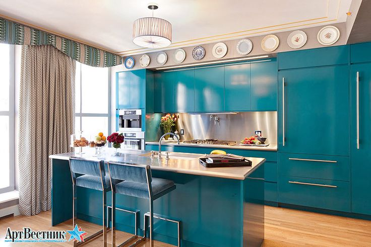 Кухни голубые. Дизайн интерьера кухни. | artvestnik.ru
