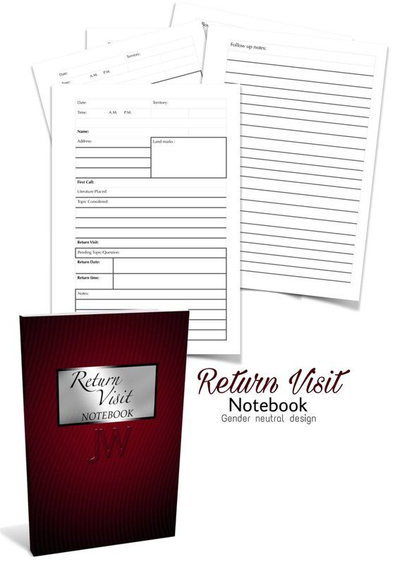 Jw Theme Return Visit Notebook Template Form Sheets White Etsy Notebook Templates White Pages Notebook