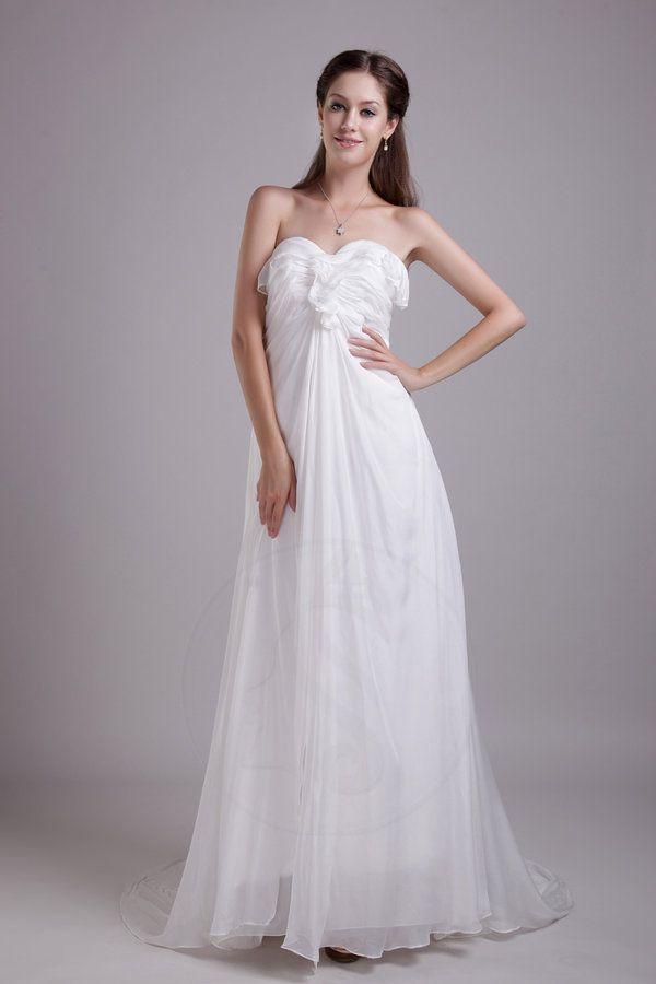 Robe de mariée jusqu'au sol d'empire avec zip soie manuelle de traîne watteau