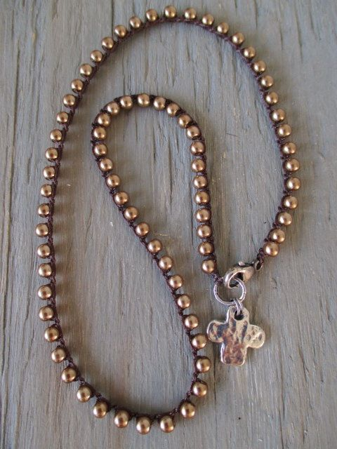 Bronze pearl crochet necklace PURE glass pearl by slashKnots