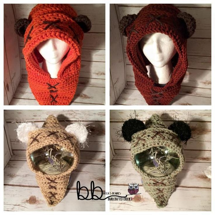 (4) Name: 'Crocheting : Ewok Hood from Star Wars