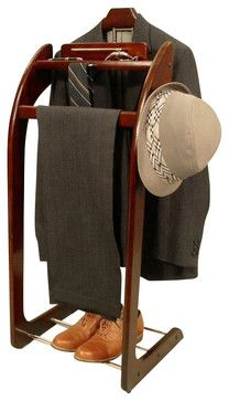 Proman Products Windsor Brass Valet in Mahogany transitional-clothing-valets-and-suit-stands