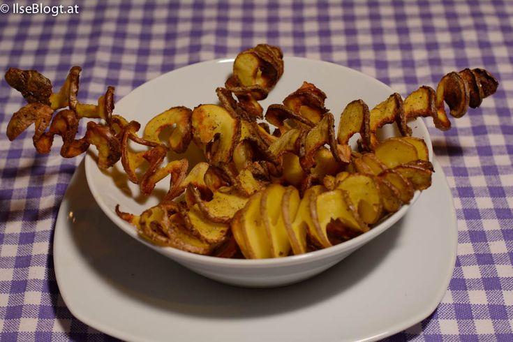 Kartoffelspiralen ein schneller Snack mit Kartoffeln die nicht geschält werden müssen.