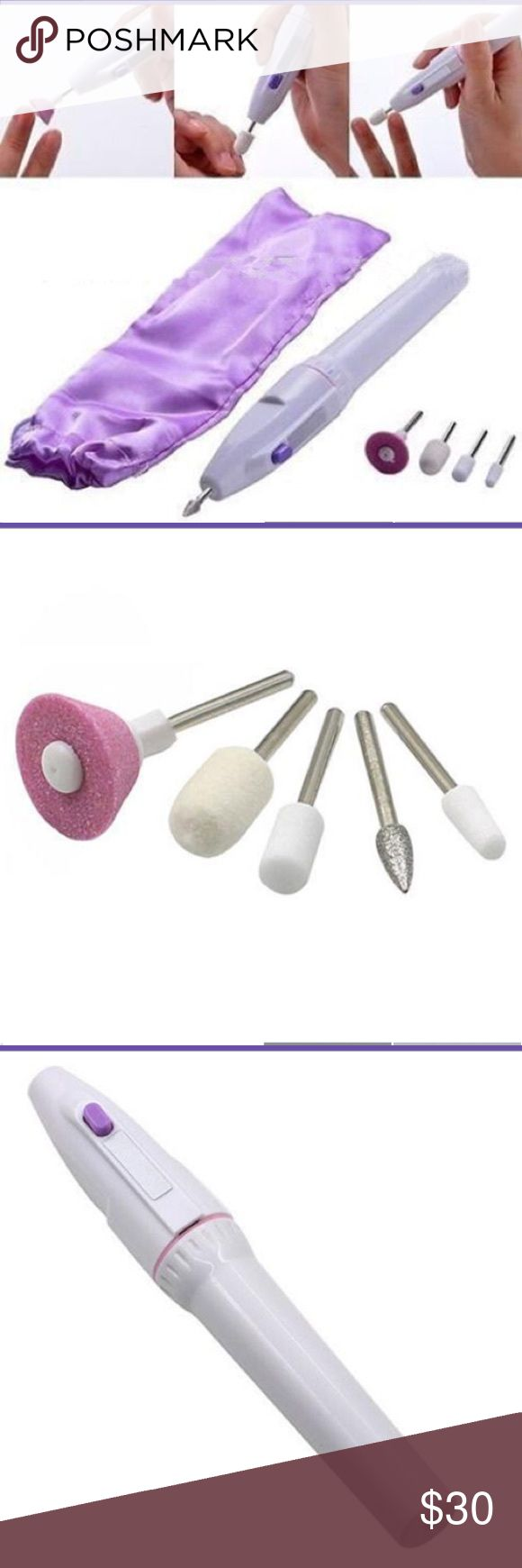 NWOT⭐️Electric Nail File Kit -Mani/Pedi Set NWOT⭐️5 Bit Electric Nail File Kit. Get a professional mani/pedi without leaving home! This device allows you to shape, sculpt and polish your nails quickly & safely. It's powerful enough to trim & shape hard acrylics and tough toenails, but gentle enough to massage and stimulate sensitive cuticles.  ·Small, lightweight, precision operation & convenient Powered by: 2 x AA Battery (not included).  Includes - 1 x Electric Pen Shaped Drill/File, 5…