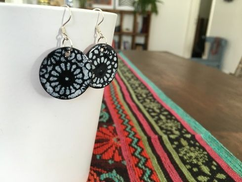 Our Carolina Copper Earrings have a fun black and white design, but they're actually made from copper!  This fair trade jewelry is made by women in Chile.