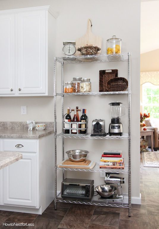 wire shelving unit in kitchen