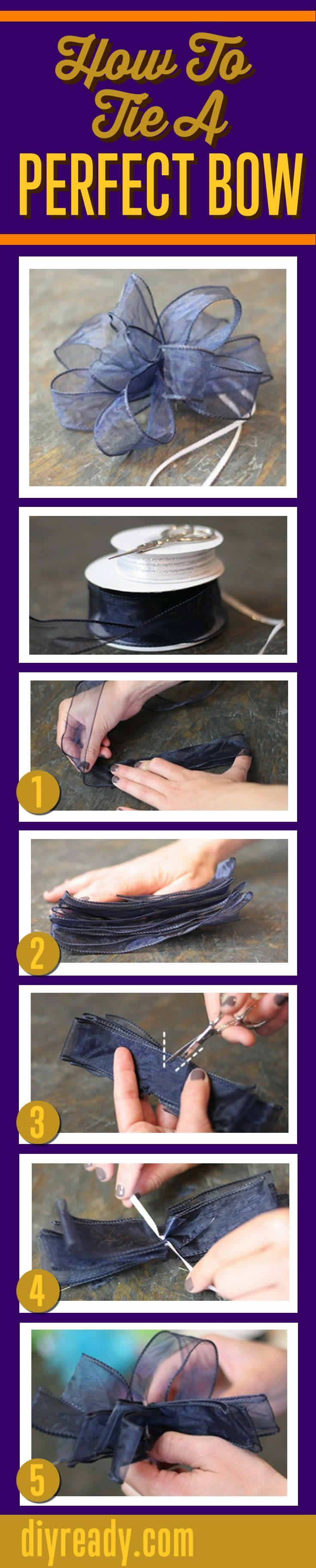 How To Tie A Bow With Ribbon - Perfect, Beautiful Big Gift Bows Made Easy With This Step-by-Step Infographic | DIY Projects by DIY Ready http://diyready.com/how-to-tie-a-bow-with-ribbon/