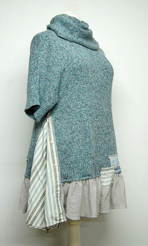 Long Tunic Cowl Neck Sweater Long Sweater Bohemian Tunic