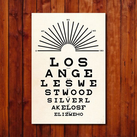 Los Angeles  Eye Chart  Typography Poster  by GoingUnderground, $19.00