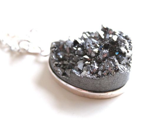 SALE 15 Titanium Silver Druzy Necklace. Natural by GSGjewelry, $35.00