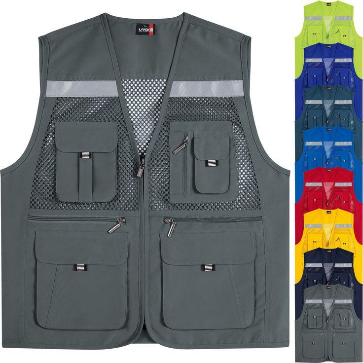 Multi Pockets Mesh Vests Sleeveless Fishing Hunting Safety Hi Vis Work Waistcoat #hellobincom