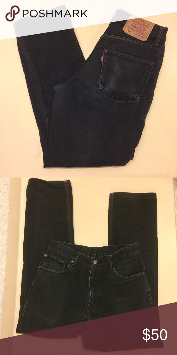 """Vintage high waist Levi's 506 black mom jeans 15"""" flat waist, 11"""" high rise, 30"""" inseam (tagged 32x34 but see current measurements). Great condition. Rare high waisted skinny tapered cut. Please use measurements. No tryons or trades but offers welcome Levi's Jeans"""