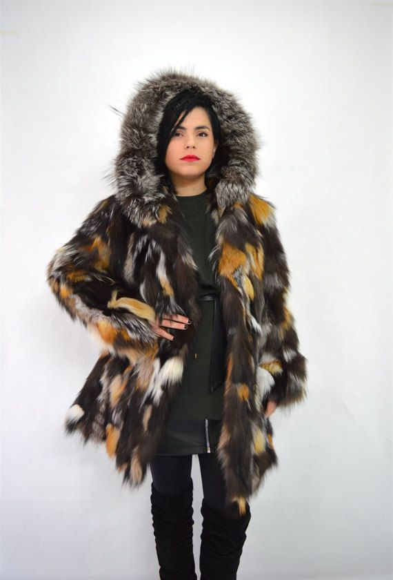 Real fur coat fox fur coat genuine fox fur jacket. by BeFur