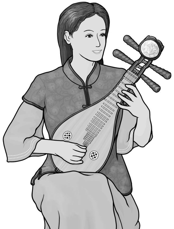 [ liuqin ] plucked string instrument.