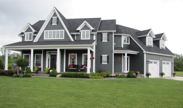 dream house exterior: Color Schemes, Black Doors, Side Color, Iron Gray, Exterior House, White Trim, House Color, Exterior Color, Paintings Color
