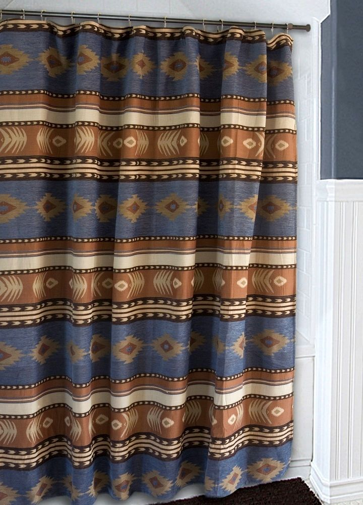 """Southwestern Sierra Chenille Fabric Shower Curtain (JB-1114) - A great addition to your Southwestern or Western themed bathroom is this high quality chenille fabric shower curtain (liner not included) with a distinctive Southwest design with concho design on desert tan and blue torquoise colors. Shower Curtain measures 72""""x 72"""" and has 12 standard button holes for shower curtain hooks (not included). The chenille fabric is a polyester/acrylic/cotton blend and can be washed in cold water and…"""
