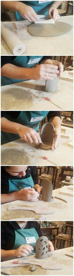 Mini tutorial lanternina in ceramica tradizionale per candela  Tutorial ceramic little lantern for candle  Santarcangelo La Bottega 36