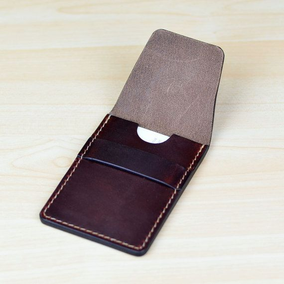 All hand made, Using high quality leather from legendary Horween Tannery. Sewed with nylon thread. The leather is durable and will age beautifully. This card case is easy to use, able to put in at least 20 thick business cards. You can also use this card case for credit cards or as a
