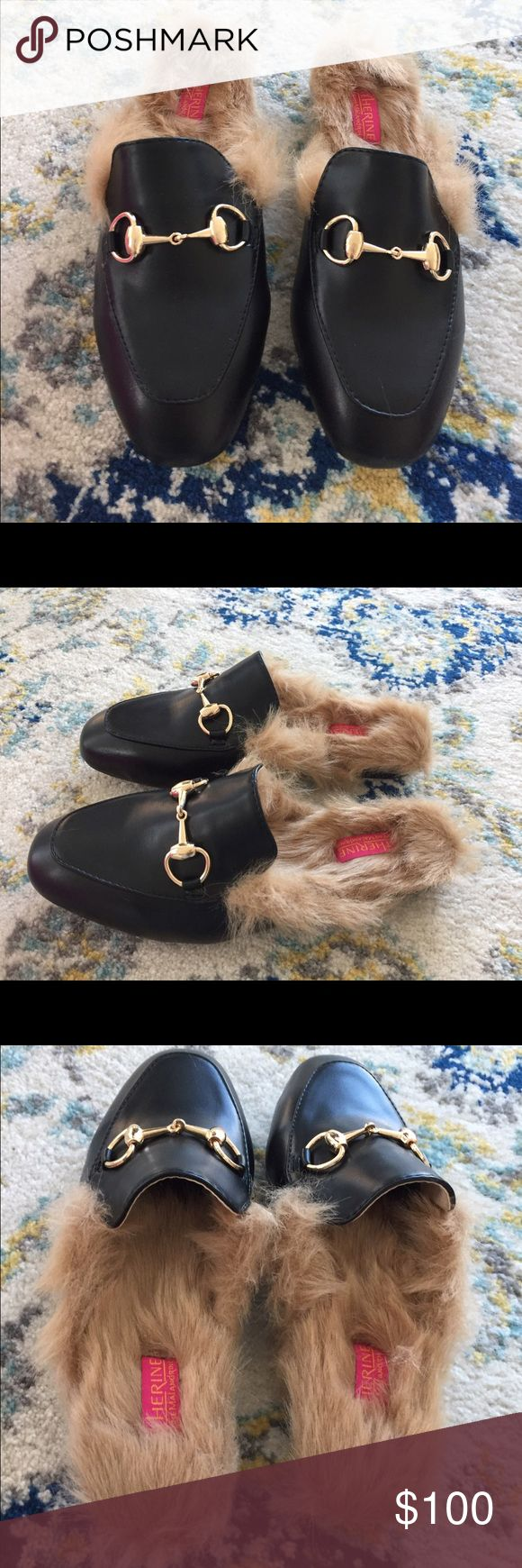 Catherine Malandrino Black Faux Fur Lined Slippers Catherine Malandrino Black Faux Fur Lined Slippers Horsebit Mules Gucci Princeton Style. Catherine Malandrino Shoes Mules & Clogs
