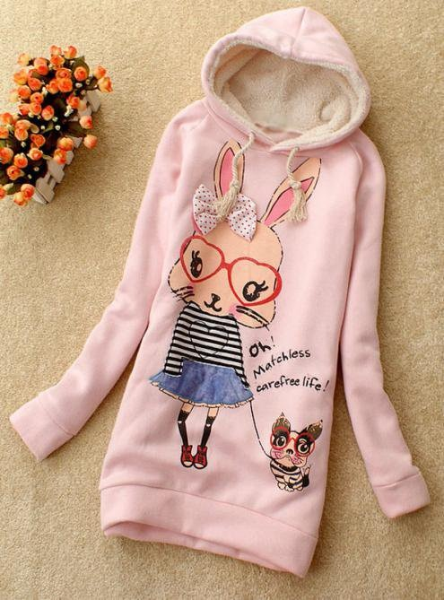 Pink Butterfly Rabbit Hooded Sweatshirt$38.00